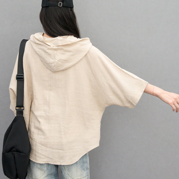 Batwing Sleeve Solid Color Hooded Blouse