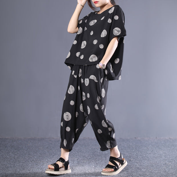 Cotton Dot Pleated Blouse And Harem Pants
