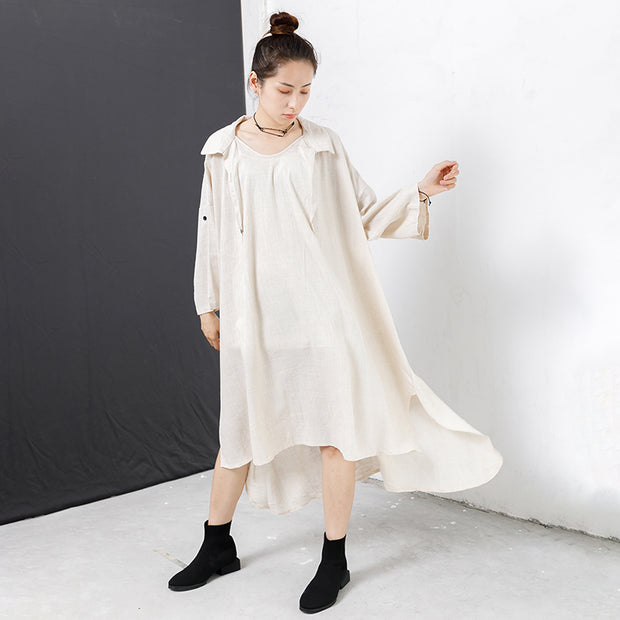 High And Low Hem Pure Color Dress