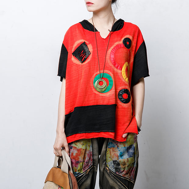 Hooded Short Sleeve Patch Designs Blouse
