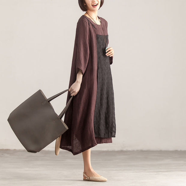 Splicing Loose Three Quarter Sleeve Wine Red Linen Dress - Buykud