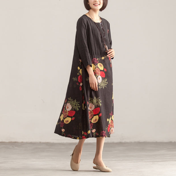 Three Quarter Sleeve Round Neck Cotton Linen Printed Dress - Buykud