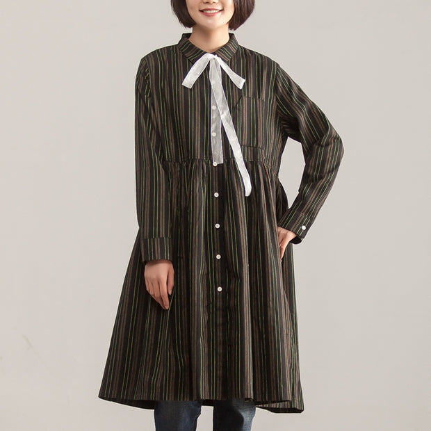 Long Sleeve Stripe Polo Collar Single Breasted Dress - Buykud