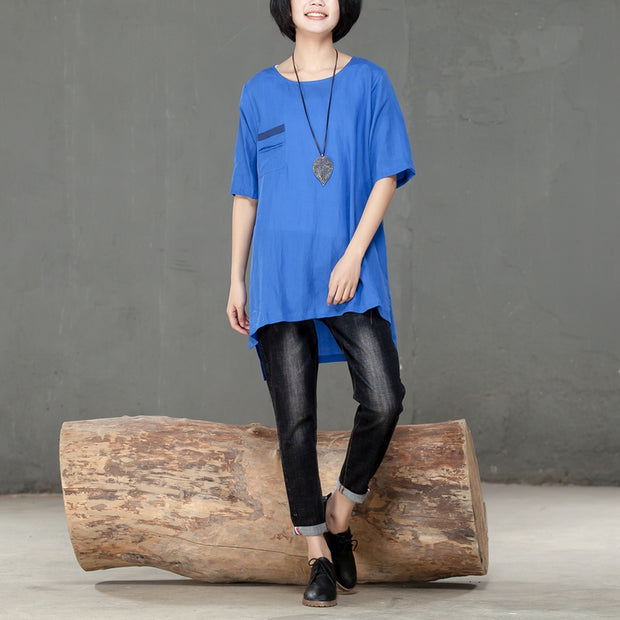 Summer Round Neck Short Sleeve Blue Women Irregular Shirt - Buykud