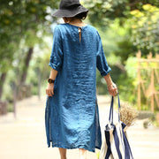 Long Sleeve Casual Linen Slit Pullover Dress