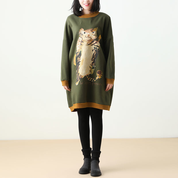 Loose Animal Print Retro Long Sweatshirt