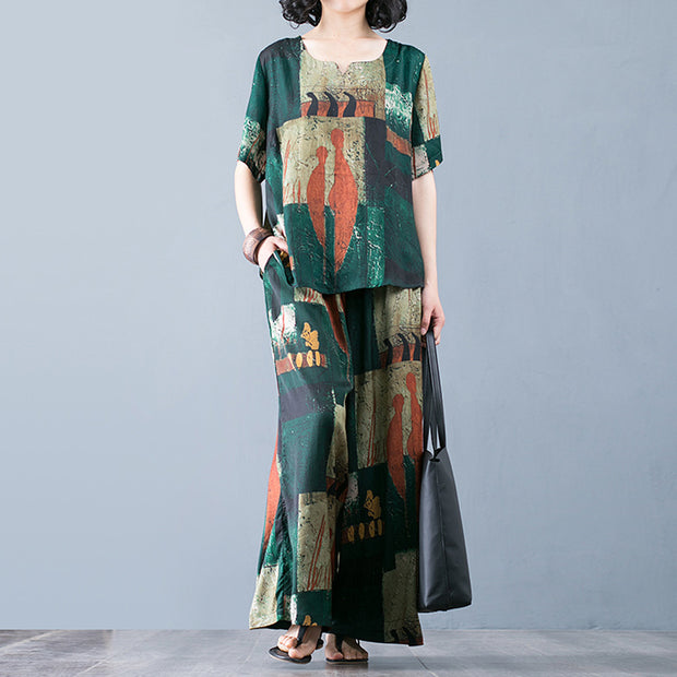 Mulberry Silk Print Blouse And Wide Leg Pants