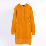 Hoodie Drawstring Winter Long Sleeve Midi Dress