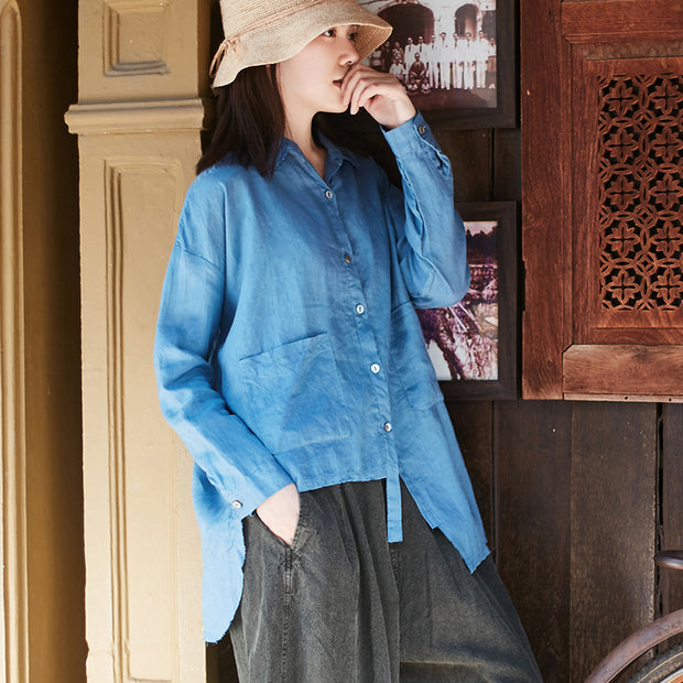 Personality Irregular Solid Color Spring Shirt