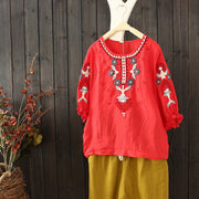 Retro Embroidery Lantern Sleeve Loose Blouse
