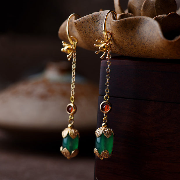 Retro Ethnic Style Green Agate Drop Earrings