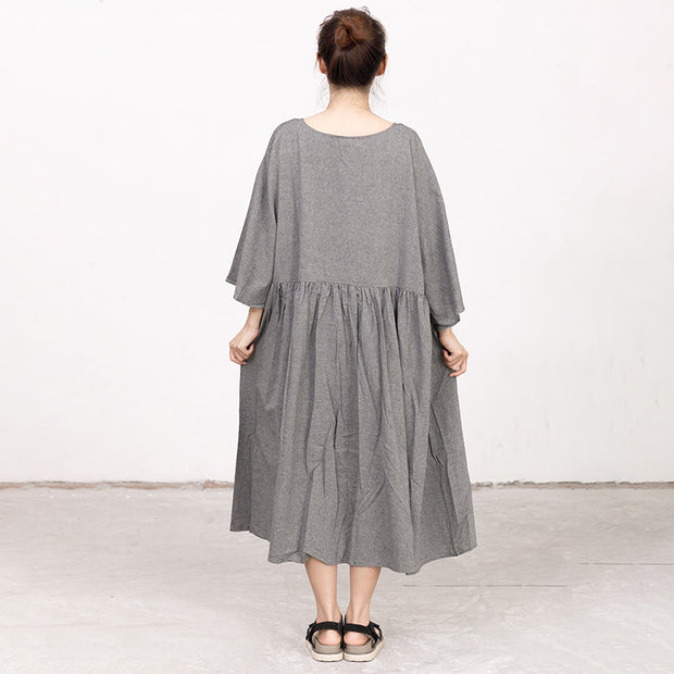 Retro V Neck Three Quarter Sleeve Loose Gray Dress