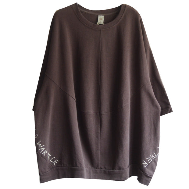 Round Neck Letter Embroidery Casual T-Shirt