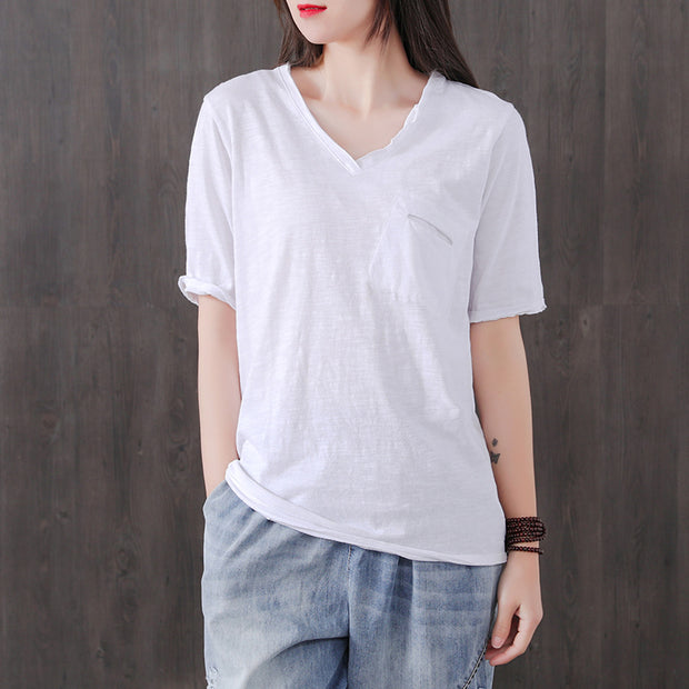 Simple Pure Color Single Pocket T-Shirt