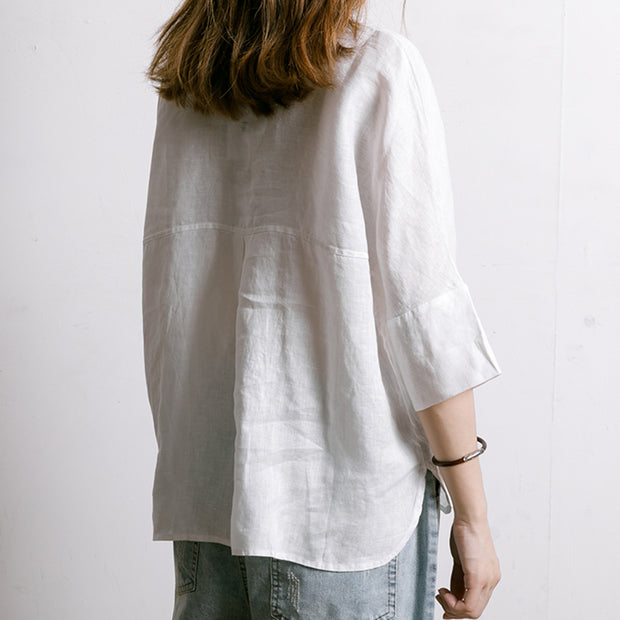 Single Breasted Printed Simple Linen T-Shirt