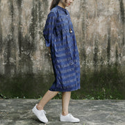 Stand Collar Blue Loose Stripe Casual Dress
