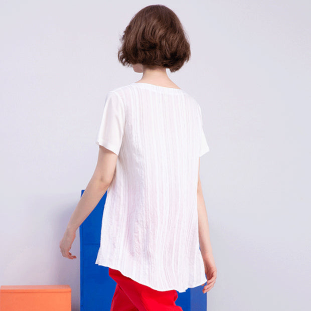 Summer Fashion Cotton Stiped Short Blouse