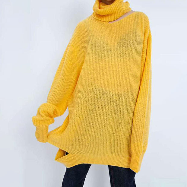 Transparent Turtleneck Thin Loose Split Women Sweater