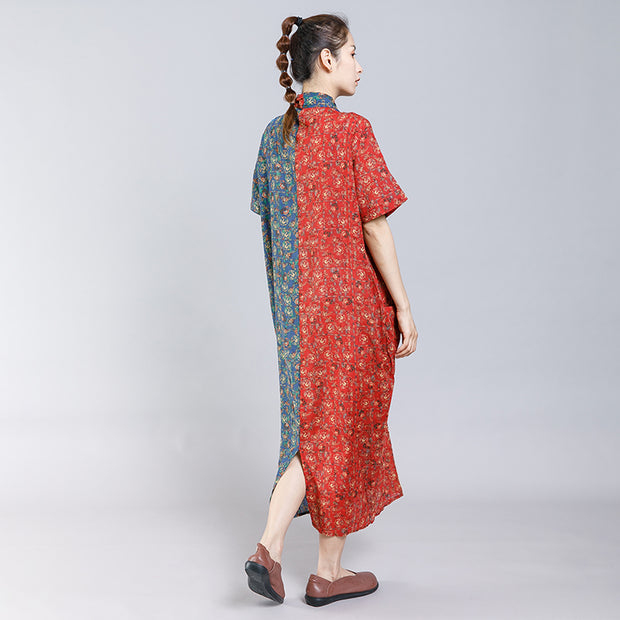 Vintage Casual Printed Spliced Folded Dress