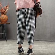Vintage Cotton Linen Plaid Ankle-Length Pants