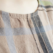 Vintage Plaid Round Neck Cotton Linen Dress