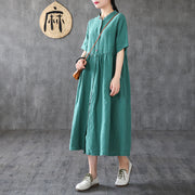 Vintage Solid Short Sleeve Linen Dress
