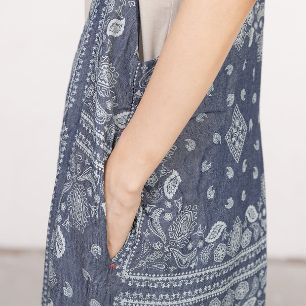 Women Printed Cotton Linen Dark Blue Casual Jumpsuit