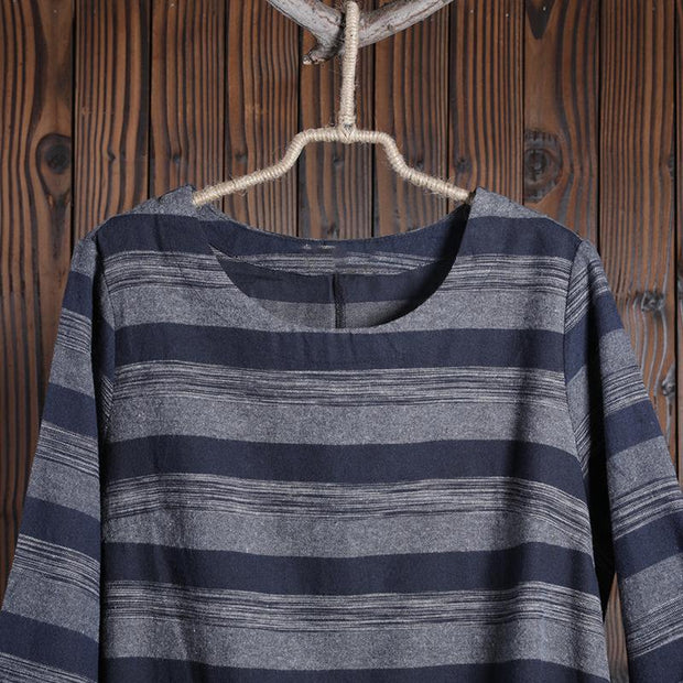 Women Spring Casual Striped Pullover Long Sleeve T-Shirt