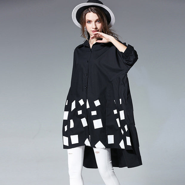 Plus Size Women Spring Square Printing Loose Shirt