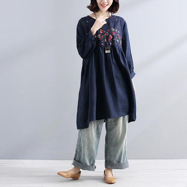 Embroidered Floral Summer Women Loose Casual Folded Navy Blue Dress