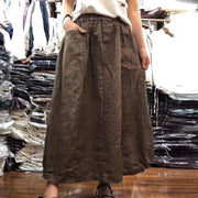 Cotton Linen Casual Solid Vintage Skirt