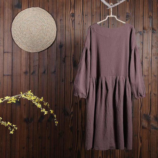 Charming Women Leisure Cotton Pleated Long Sleeves Dress