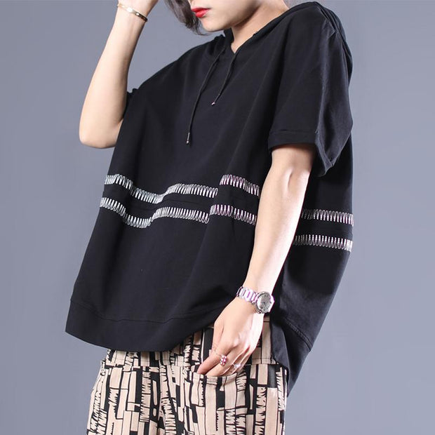 Casual Loose Embroidery Striped Hooded Blouse