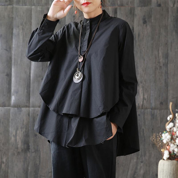 Cotton Loose Long Sleeve Women Plus Size Shirt