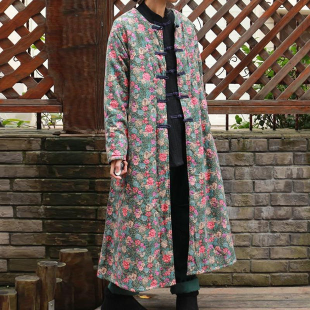 Chinese Style Women Long Thick Winter Coat