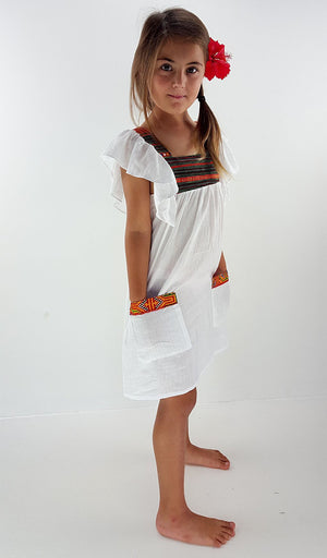 Girls Soft cotton coco Hill Tribe Kaftan Dress - white.