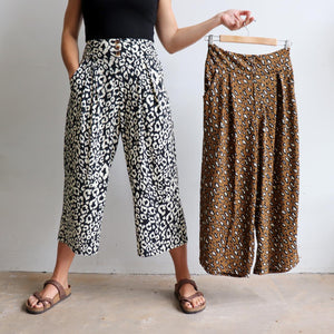 Ultra-comfy culotte pants in an animal print, Lovely wide elasticised waistband with two essential pockets. Cotton/Poly fabric available in sizes 10-18.