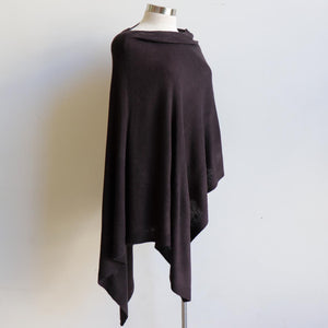 Women's Fine Knit Poncho Wrap. Elegant & versatile winter top can be worn multiple ways.. Made with easy-care acrylic fibre. Black.