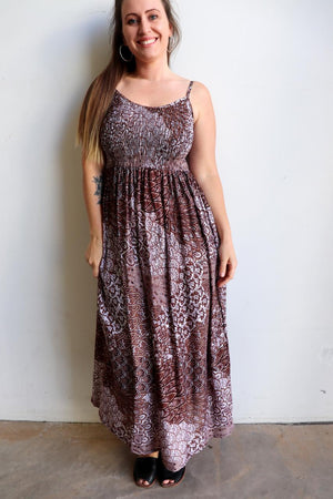 Womens flowy maxi sundress tunic gown with shirred bodice and adjustable spaghetti straps in peacock paisley print. Generous one size fit flatters most from size 10 to 18 or up to 120cm bust - Latte