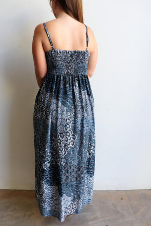 Womens flowy maxi sundress tunic gown with shirred bodice and adjustable spaghetti straps in peacock paisley print. Generous one size fit flatters most from size 10 to 18 or up to 120cm bust - French Blue