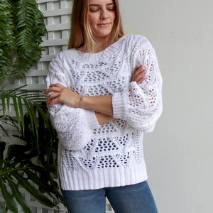 Cloud Break Cable Knit Jumper. Womens long sleeve cosy jumper top. Made from 85% cotton + 15% Polyester. Sizes S/M + L/XL