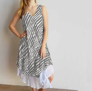 Quality 100% cotton layered sun dress, perfect for summer. One size dress, fitting size 10 to 18, bust size up to 120cm. Silver.