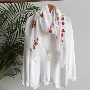 Daisy Chain Cotton Embroidery Scarf Wrap + rainbow floral.  White