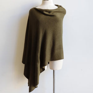 Women's Fine Knit Poncho Wrap. Elegant & versatile winter top can be worn multiple ways.. Made with easy-care acrylic fibre. Olive