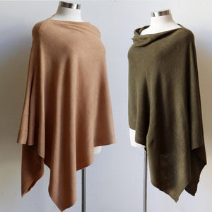 Women's Fine Knit Poncho Wrap. Elegant & versatile winter top can be worn multiple ways.. Made with easy-care acrylic fibre. Camel + Olive.