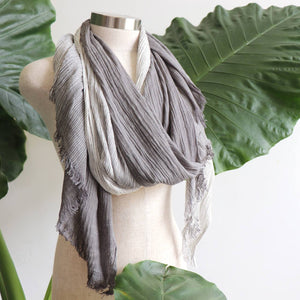 Large elegant scarf with tonal shadings and a fine raw fringe edging. 100% viscose. Charcoal Grey.