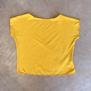 Girls summer square cut, plain t-shirt basic top. Sizes to fit newborns, toddlers, kids and  tweens up to 10 years old. Ethically handmade with soft, stretch bamboo spandex. Sunshine Yellow