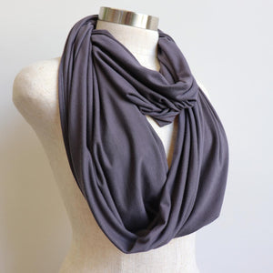 Infinity Scarf (Snood) in luxe bamboo rayon stretch fabric from our KOBOMO On The Go Collection. Charcoal.
