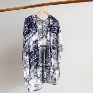 Kimono Wrap Cardi in classic navy, black and creamy white 'provincial' print. Free-fitting style that suits petite to plus sizes.