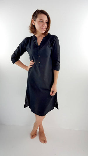 Ethical + handmade Indian style long kurta tunic dress with mandarin collar + side splits to knees. Black.